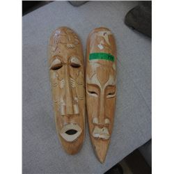 Pair of Carved Wood Wall Masks