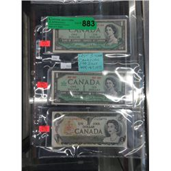 Last 3 Issues of the Canadian $1 Bills
