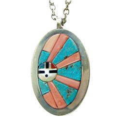 Zuni Inlay Pendant Necklace - Ric Laselute