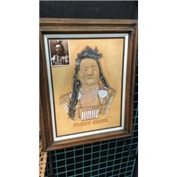 Plenty Coups Crow Chief Carved On Leather