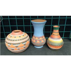 Collection Of 3 Signed Navajo Pottery Vases