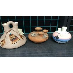 3pc Signed Pottery