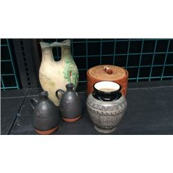 5pc Collection Of Signed Pottery