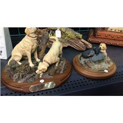 2 Resin Dog Statues