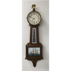 New Haven Banjo Clock With Painted Glass