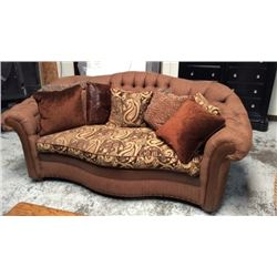 Designer Century Upholstered And Leather Sofa