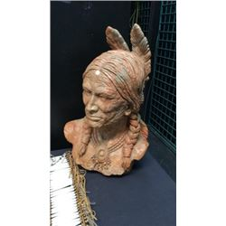 Carved Stone Indian Head Bust