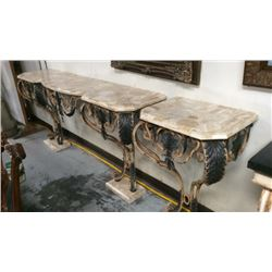 Marble and Iron Cast & Bronze Pedestal Wall Table