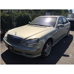2001 MERCEDES S600, 4 DOOR SEDAN, GREY, VIN # WDBNG78J91A183657