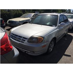 2003 HYUNDAI ACCENT, 4 DOOR SEDAN, GREY, VIN #KMHCG45C53U418906, 212,331 KMS, GAS, 4CYL, AUTOMATIC,