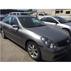 2006 INFINITI G35, 4 DOOR SEDAN, GREY, VIN # JNKCV51E46M510552