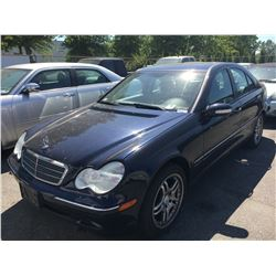 2004 MERCEDES C240, 4 DOOR SEDAN, BLUE, VIN#WDBRF81J94F548611, 108,797KMS, AUTOMATIC,