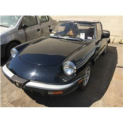 1986 ALFA ROMEO, VELOCE, 2 DOOR CONVERTIBLE, VIN #ZARBA5417G1037269, TMU, GAS, MANUAL ,