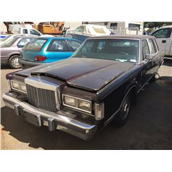 1987 LINCOLN TOWNCAR, 4 DOOR, RED, VIN # 1LNBM81FXHY690704