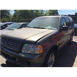 2002 FORD EXPLORER LIMITED, 4 DOOR SUV, GREEN, VIN # 1FMZU75W02ZC07242