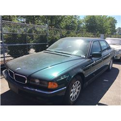 1997 BMW 740 IL, 4 DOOR SEDAN, GREEN, VIN # WBAGJ8325VDM04772