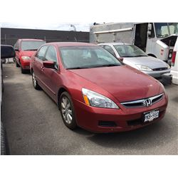 2007 HONDA ACCORD, 4DOOR, RED, VIN # 1HGCM66557A802086