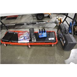 MISC. TOOLS INCLUDING CAR JACK, GAS LINE, ANTIFREEZE, BOOKS, CREEPER, AND MORE