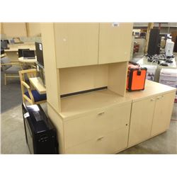 MAPLE 2 DRAWER LATERAL FILE CABINET WITH DOUBLE DOOR HUTCH
