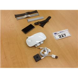 LOT OF MISC. APPLE ACCESSORIES INC. MAGIC MOUSE 2, IPOD SHUFFLE, IPOD NANO AND ASSORTED APPLE WATCH