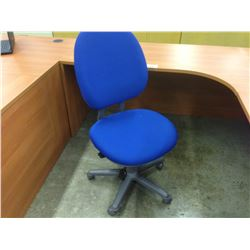 STEELCASE CRITERION BLUE AND GREY ADJUSTABLE TASK CHAIR, NO ARMS