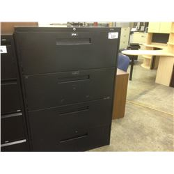 GLOBAL BLACK 4 DRAWER LATERAL FILE CABINET