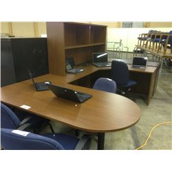 CHESTNUT U-SHAPE BULLET TOP EXECUTIVE DESK WITH HUTCH