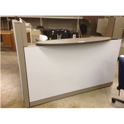 STEELCASE GREY L-SHAPE RECEPTION UNIT WITH MISC. DESKS AND WORK SURFACES