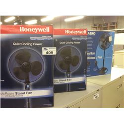 TWO HONEYWELL FULL ROOM STAND FANS AND LASKO STAND FAN