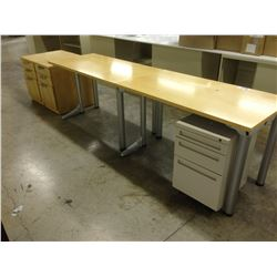TWO 48'' X 24'' MAPLE UTILITY TABLES AND TWO MATCHING PEDESTALS