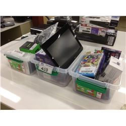 THREE BOXES OF MISC. ELECTRONICS INC. GAMES, CAMERAS AND MORE