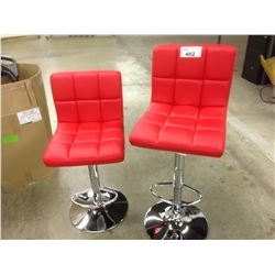 PAIR OF RED ADJUSTABLE HEIGHT BAR CHAIRS