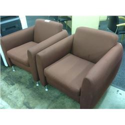 PAIR OF BURGUNDY CLUB STYLE RECEPTION CHAIRS