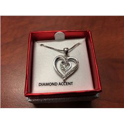 "DIAMOND MULTI HEART NECKLACE, SET WITH 2 DIAMONDS, 18"" CHAIN"