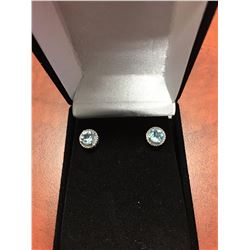 NEW BLUE TOPAZ & DIAMOND STUD EARRINGS, ROUND CUT, 2CT, STERLING SILVER