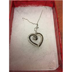 LADIES DIAMOND HEART NECKLACE, ROUND WHITE DIAMOND