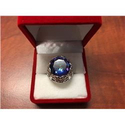 25CT OCEAN BLUE MYSTIC TOPAZ, FILIGREE DESIGN RING