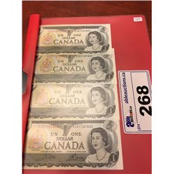 4 X OLD CANADA $1 BILLS, CONSECUTIVE #'S & UNCIRCULATED