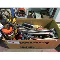 BOX OF ASSORTED PIPE FITTERS TOOLS
