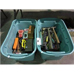 2 PLASTIC STORAGE CONTAINERS FILLED WITH ASSORTED TOOLS