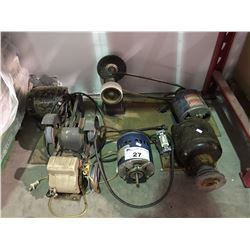 2 ELECTRIC MOTOR POWERED BENCH GRINDERS & 3 SPARE ELECTRIC MOTORS