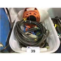 PLASTIC STORAGE CONTAINER FILLED WITH ASSORTED EXTENSION  CORDS, POWER CORDS ETC.