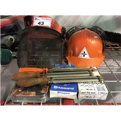 GROUP OF ASSORTED CHAINSAW ACCESSORIES - FALLER HARD HAT, CHAIN SHARPENERS, & ASSORTED CHAINSAW
