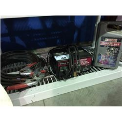 SHELF LOT - HEAVY DUTY JUMPER CABLES, MOTOMASTER BATTERY CHARGER & MOTOMASTER HYDRAULIC 4 TON
