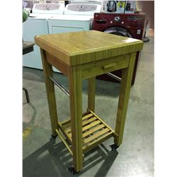 Bamboo butcher block small rolling kitchen island able - Small butcher block island ...
