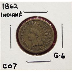 Three Indian Head Cents 1862  G6.  1863  G6.  1865 G4. $25-35