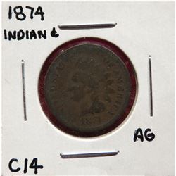 Four Indian Head Cents 1874 AG. 1909 G6.  1909 VG8. 1904 VF25 $25-35