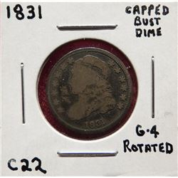 1831 Capped Bust Dime G4. Rotated die. $30-40