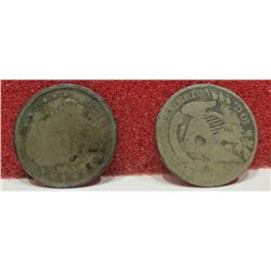 1833 & 1836 Capped Bust Dimes Both AG. $20-30