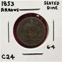 1853 Seated Liberty Dime G4. (Arrows). $10-20